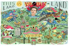Celebrate the Woody Guthrie centennial with a Folk Alley mix of Guthrie's greatest songs, plus music from the musicians he inspired, like Joan Baez, Ani DiFranco and Old Crow Medicine Show.  Illustration: Aaron Meshon for eMusic (embiggen)