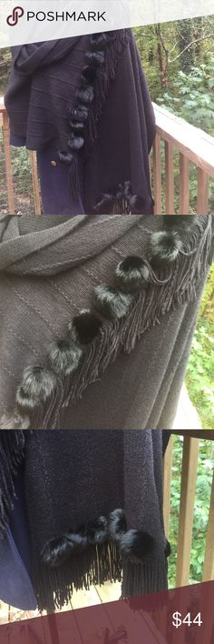 Stunning rabbit fur and fringe Poncho-like shawl Very soft and as you can see rabbit fur fringe and black with raised cable design. Hardly worn and no pill or tears. A stunning garment and very well made. Pair with any dress or leggings and boots. Throw over anything for instant chic street style. 94 inches long including fringe and 34 inches wide. jennifer sun Jackets & Coats Capes