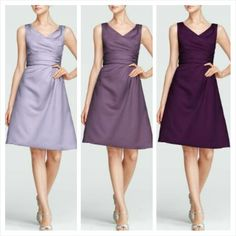 Iris, Wisteria & Plum Short Sleevess Satin Dress with Ruched Waist Style F14823 $79