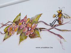 Méhecske az indán - Anna névreszóló tömörfenyő indásvirágos-manós mintával festett fehér gyerekágy. Fotó azonosító: AGYANN13