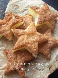 Super Easy Cinnamon Sugar Pastry Star Party Snacks.