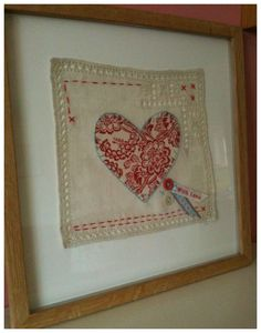 ~ Old Handkerchief w/ Heart & Embroidery ~