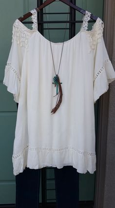 Boho Beauty Plus Size Cold Shoulder Tunic Top With Lace Eggshell / Natural