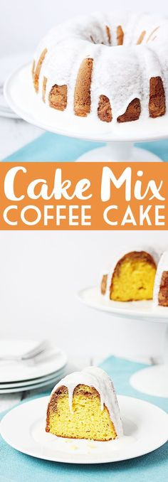 CAKE MIX COFFEE CAKE -- Cake mix coffee cake is ridiculously delicious, which is surprising considering how easy it is to make. Think rich, moist coffee cake with the perfect amount of brown sugar goodness and vanilla glaze. Mmm... | halfscratched.com