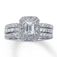 Kay - Diamond Bridal Set 1 1/5 ct tw Emerald-Cut 14K White Gold  New fave
