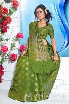 Dazzling Dark Green Art Silk Partywear Saree