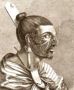 Maori Chief, 1777 - Voyages of Pacific Discovery - Library Todd White Art, Ancient Tattoo, Maori Tattoo Designs, Maori Tattoos, Whale Drawing, Male Profile, Facial Tattoos, Marquesan Tattoos, Science Photos