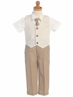 151d5c2c1f8 Khaki Seersucker Vest   Pants Set. Little Boy TuxedosBoys Formal WearFormal  VestFormal SuitsBoys TuxedoRing Bearer OutfitWedding ...