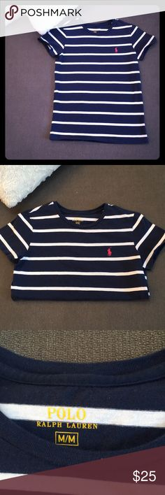 Ralph Lauren Polo Tee Cute tee with no stains, color is lightly faded from wash but still looks great!! Such a deal for the brand!  From Polo Ralph Lauren, this tee features: knit fabrication round neckline short sleeves pullover construction cotton machine wash Polo by Ralph Lauren Tops Tees - Short Sleeve