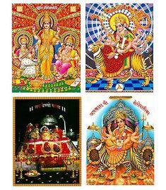 Hindu Deities - Set of 4 Posters