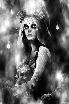 Chicano Tattoos, Chicano Art, Sugar Skull Girl, Sugar Skulls, Sugar Skull Artwork, Tattoo Cover, Gothic Fantasy Art, Pin Up Girl Vintage, Dark Artwork