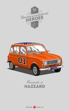 """""""Unconventional Heroes"""" é a nova série de Gerald Bear. Carros que roubam a cena em filmes e séries e são tão necessários quanto os protagonistas, são reimaginados em outros modelos."""