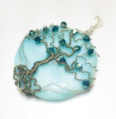 Aqua Tree of Life Pendant - Magical Energy Pendant - Amazonite and Crystals - Big Blue Tree of Life Necklace