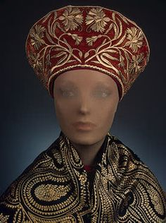 Woman's Headdress   Upper reaches of the Volga   Russia. Late 19th century  Velvet, chintz, braid and metal thread; embroidered. 14x24 cm   Source of Entry:  State Museum of Ethnography of the Peoples of the USSR, Leningrad. 1941