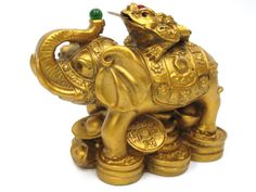 CHINES ORIENTAL GOLD GOLDEN FENG SHUI ELEPHANT MONEY COIN FROG TOAD WEALTH in Collectables, Other Collectables | eBay