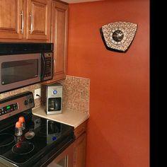 Large 26 inch Hand Made Mid Century style Brass Starburst Sunburst Clock by Royale Seth Thomas style in Sage with Blonde Teak Wood Spokes Sunburst Clock, Mid Century Modern Armchair, Kitchen Wall Clocks, Hand Wax, Mid Century Style, Teak Wood, Brass, Handmade, Etsy