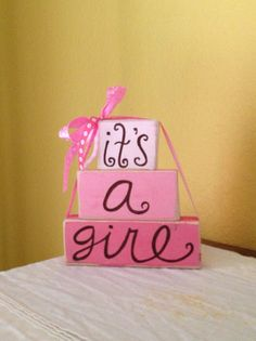 It's a Girl wooden block shelf sitters by GiftsbyGaby on Etsy
