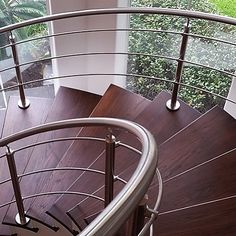 Stainless Steel Stair Railing with beautifully brushed finish and imported from Italy.    #staircase #stairs #stairparts #stainlessrailing #stairdesign #StairWarehouse