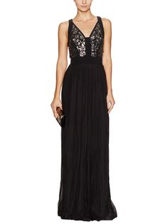 Silk Sequin Embellished Gown by Rebecca Taylor at Gilt