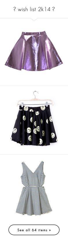 """☼ wish list 2k14 ☼"" by lovedeleanorpeader ❤ liked on Polyvore featuring skirts, bottoms, faldas, saias, purple skirt, skater skirt, leather skirt, lilac skirt, metallic skater skirt and blue skirt"