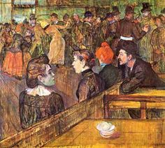 Audience at the Moulin Rouge, painted by Tolouse Lautrec