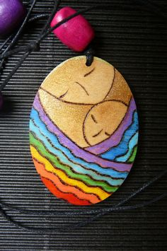 """Motherhood necklace jewelry Oval wooden shape pendant """"Close in a rainbow"""" handmade painting and pyrography by Gioia Albano"""