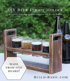 Build a DIY Beer Flight Holder – Building Plans by Beginner Woodworking Projects, Popular Woodworking, Diy Woodworking, Beer Crafts, Craft Beer, Gifts For Beer Lovers, Wine And Beer, Best Beer, Diy Wood Projects