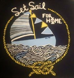 Set sail for hΦΜe! Super cute Phi Mu canvas for Big Little Week