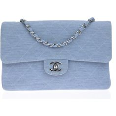 Pre-owned Chanel Light Blue Cotton Medium Flap Bag (1,995 CAD) ❤ liked on Polyvore featuring bags, handbags, purses, bolsas, blue handbags, pre owned handbags, chanel handbags, chanel purse and blue bag