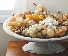 Marble and stone grapes. Rebecca Robertson, Italian Marble, Stone Fruit, Displaying Collections, One Kings Lane, Antiques, French Country, Dining Room, Food