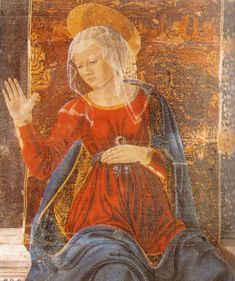 Chapel of the Cardinal, Basilica of San Miniato. Detail view of the Virgin in the Annunciation fresco above the Bishop's throne. Italian Renaissance, Renaissance Art, Special Prayers, Alesso, Vanishing Point, Italian Painters, Blessed Virgin Mary, Romanesque, Our Lady
