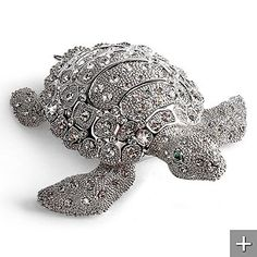 Seymour the Sea Turtle, crystallized with clear and emerald Swarovski® crystals