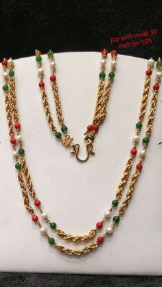 Jewerly Simple Necklace Beads For 2019 Gold Mangalsutra Designs, Gold Earrings Designs, Gold Jewelry Simple, Simple Necklace, Indian Wedding Jewelry, Indian Jewelry, Beaded Jewelry, Beaded Necklace, Gold Necklace