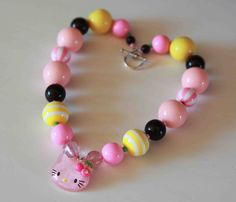 Hello Kitty Chunky Necklace- Birthday - Dress Up- Christmas Necklace - Photo prop- children's accessory. $21.99, via Etsy.
