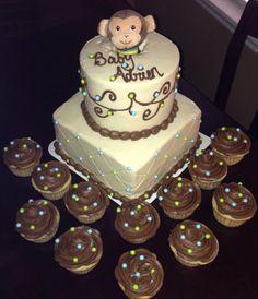 Monkey themed baby boy baby shower cake