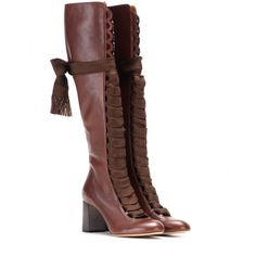 Leather knee-high boots Chloé (2,140 NZD) ❤ liked on Polyvore featuring shoes, boots, laced up shoes, round cap, chocolate brown shoes, genuine leather shoes and lace up shoes