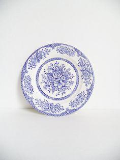 Vintage English Ironstone Plate Blue White by SPARKLESandSASS