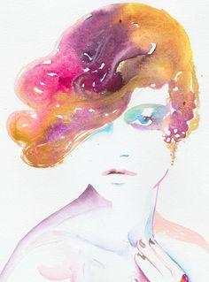 Watercolour Fashion Illustration twenties2 by silverridgestudio, $300.00