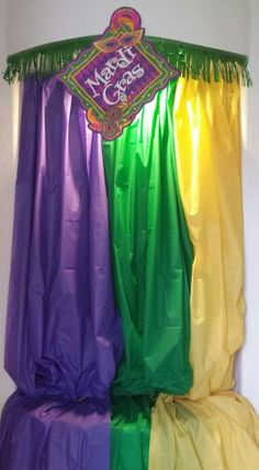 Entrance mardi gras party 2014. @hestrickslp - this one uses plastic table clothes