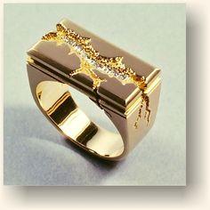 Kim Eric Lilot - Seismic Architectural ring, 14kt gold, diamonds. Via Sydney jewellery school