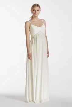 3f2a8a073b0 Chiffon A-line Maternity Wedding Dress with Pearl Waist - Soft White