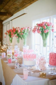 Pink dessert and candy bar // Hazelnut Photography // http://www.theknot.com/submit-your-wedding/photo/401e8cad-3ace-445c-a9c1-8384c687c51a/Melissa-and-Gus-Wedding
