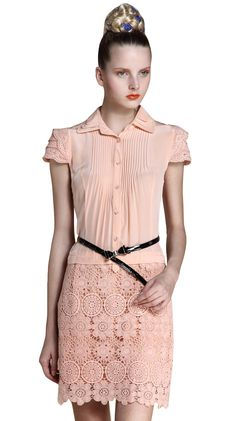 Apricot Cascading Lapel Lace Embroidery Pleated Dress