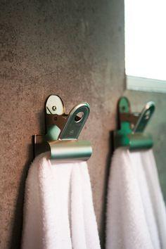 coolest towel hangers ever! #decor #industrial #fun