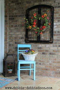 Spring porch decor and thrifty chair makeover