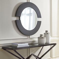 619e01a863c1 Orbit Wood Framed Accent Mirror Contemporary Decor