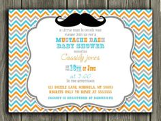 Printable Mustache Baby Shower Invitation | FREE Thank You Card Included | Baby Boy | Little Man | Party Package Decorations Available | www.dazzleexpressions.com