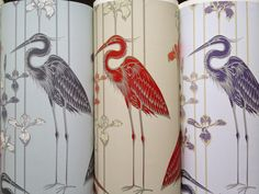 Judit Gueth Heron Wallpaper in Midnight Marsh, Red and Purple