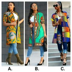african fashion or the love of kimonos, is it A, B or C? Meet this slayer rocking kimonos in a very inviting manner. African Wear Dresses, Ankara Dress Styles, Latest African Fashion Dresses, African Print Fashion, Africa Fashion, African Attire, Ankara Mode, Moda Afro, Mode Kimono