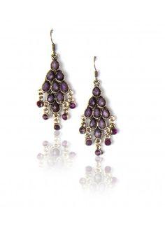 Buy Purple Stone Chandelier, Purple Chandelier Online, Purple Earrings